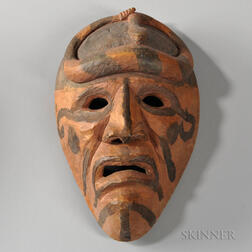 Cherokee Carved Wood Rattlesnake Warrior Mask