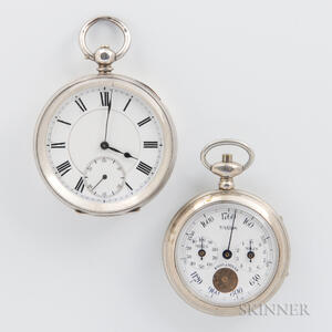Silver Key-wind Open-face Watch and French Pedometer