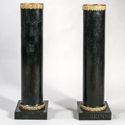 Near Pair of Gilt-metal-mounted and Marble-veneered Torchieres