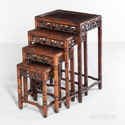 Four Carved Hardwood Nesting Tables
