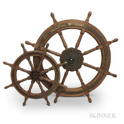 Two Early Wooden Ship's Wheels