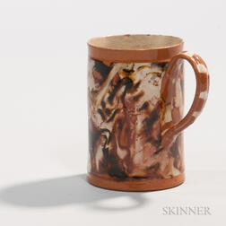 Red Earthenware Slip-marbled Mug