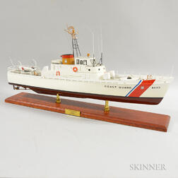 Large Painted Metal Coast Guard Ship Model of the USCG Cape Morgan