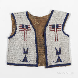 Lakota Beaded Hide Pictorial Vest