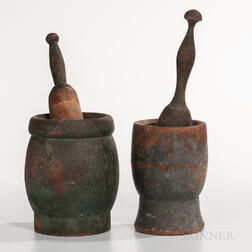 Two Turned and Painted Mortar and Pestles