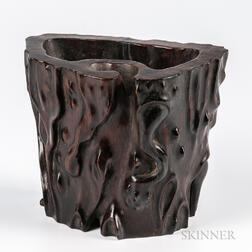 Carved Rosewood Brush Holder