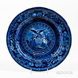 Staffordshire Historical Blue Transfer-decorated Arms of New York Plate