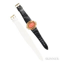 18kt Gold and Coral Covered Wristwatch, Gilbert Albert