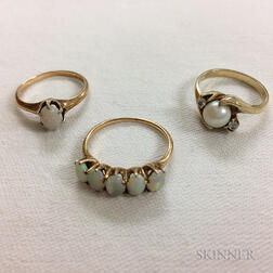 14kt Gold and Opal Ring and Two Low-karat Gold Rings