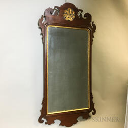 Chippendale Parcel-gilt Mahogany Scroll-frame Mirror