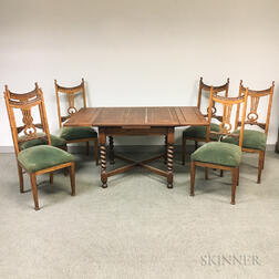 Barleytwist Oak Table and Six Carved Oak Dining Chairs