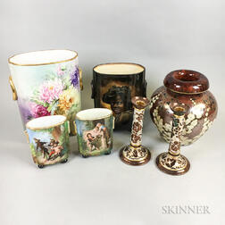 Seven Limoges Hand-painted Porcelain Items