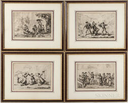 Four Engravings of Roman Genre Scenes After Bartolomeo Pinelli