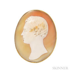 Antique Gold and Shell Cameo Brooch, Saulini