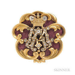 Antique Enamel and Diamond Brooch, Faberge