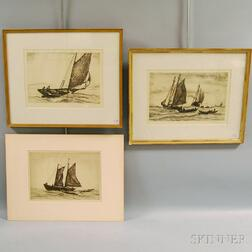 Reynolds Beal (American, 1867-1951)      Three Marine Etchings, Including Gloucester Seiner