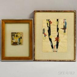 Two Framed Collages:      Lewin Alcopley (American, 1910-1992), Abstract Collage