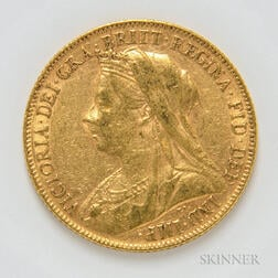 1899 British Gold Sovereign.     Estimate $300-400