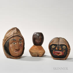 Three Carved and Polychrome-painted Coconut Heads