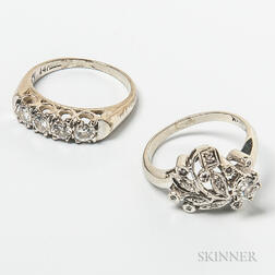 Two 14kt White Gold and Diamond Rings