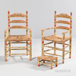 Pair of Tyrolean Painted Chairs and Footstool