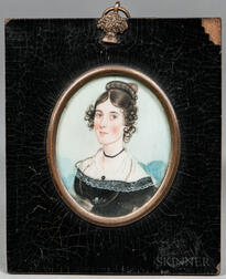 American School, 19th Century      Miniature Portrait of a Young Woman