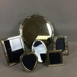 Five English Sterling Silver Frames and Silver-plate Plateau