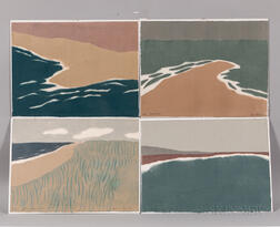 Four Richard Kemble (American, 1932-2007) Woodcuts
