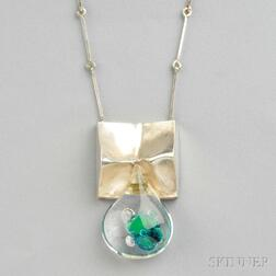 Sterling Silver and Acrylic Pendant, Bjorn Weckstrom, Lapponia