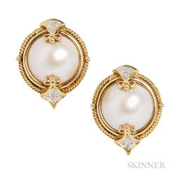 18kt Gold, Mabe Pearl, and Diamond Earclips