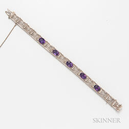 14kt White Gold and Amethyst Filigree Bracelet