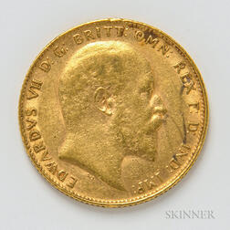 1909 British Gold Sovereign.     Estimate $300-400