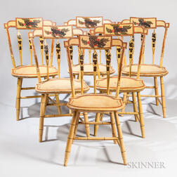 Set of Seven Yellow Paint-decorated Arrow-back Windsor Chairs