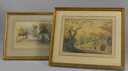 British School, 19th Century      Two Framed Watercolor Landscapes: Woman Crossing a Stone Bridge