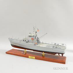 Carved and Painted Wood Coast Guard Ship Model of the USCGC Point Grace