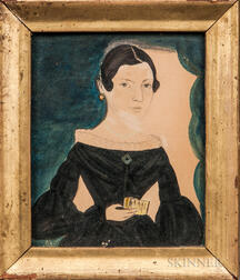 Jane A. Davis (Connecticut/Rhode Island, 1821-1855)      Portrait of Alcy Ann Boss