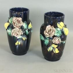 Pair of Odell & Booth Brothers Glazed Pottery Vases