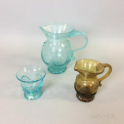 Contemporary Blown Glass Amber Jug and Aqua Pitcher and Cup