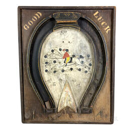 """Paint-decorated Pine """"Good Luck"""" Horseshoe-form Game Board"""