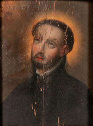 Spanish Colonial School, 18th Century Style      Portrait Head of a Cleric or Saint