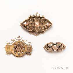Three Antique Gold Brooches