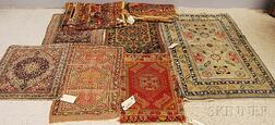 Six Rugs and a Pair of Printed Liberty of London Cloth Bolts