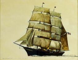 """James Archibald Mitchell (American, b. 1932)      Barque Rigged Yacht """"Aloah,"""" Owned by A. Curtiss James, Newport"""