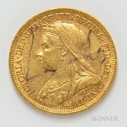 1894 British Gold Sovereign.     Estimate $300-400