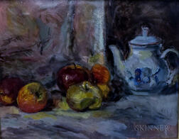 Attributed to Theresa Bernstein (American, 1891/95-2002)      Still Life with Apples and Teapot