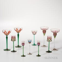 Ten Pieces of Bohemian Glass Stemware