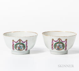 Pair of Armorial Export Porcelain Tea Bowls