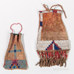 Two Northern Plains Beaded Hide Paint Bags