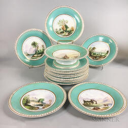 Set of Fourteen English Hand-painted Porcelain Landscape Plates and a Compote.     Estimate $20-200