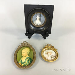Three Framed Portrait Miniatures